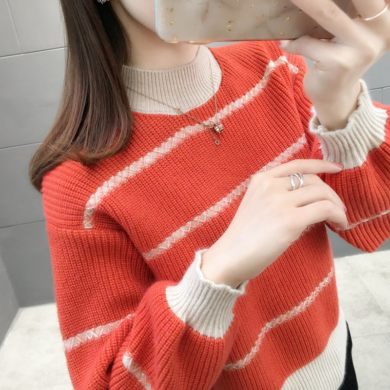 A12L  Turtleneck Loose Short Pullover