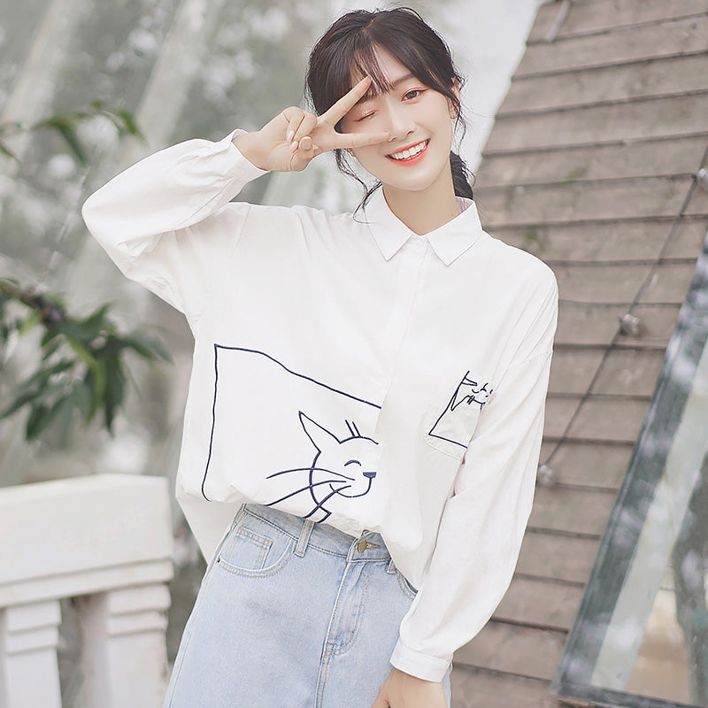 A15B Loose Cat Lapel White shirt