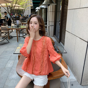 Hollow Lace Foreign Style White Shirt