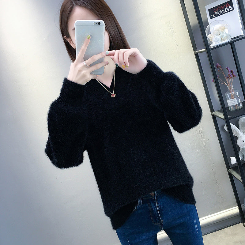A13Y Top Fashion V-Neck Long-Sleeved Pullover