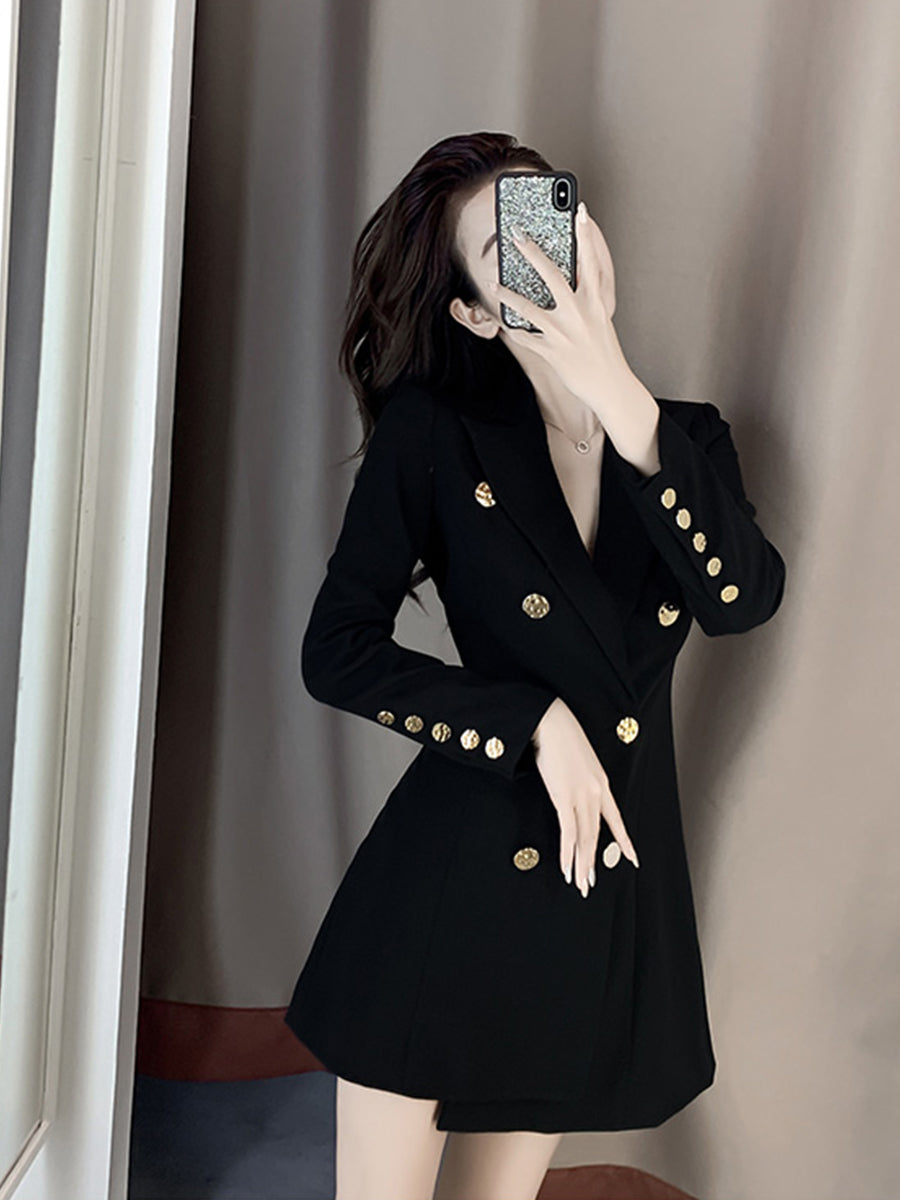 A16R Royal Slim Black Suit Dress