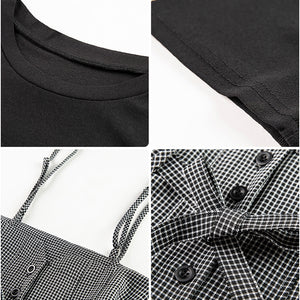A27i Hounds tooth Lattice Suspenders and T-Shirt