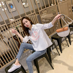 Ladies Doll Collar Puffy Sleeve Chiffon Top