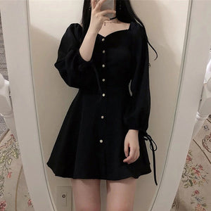 Square Collar Black French Dress