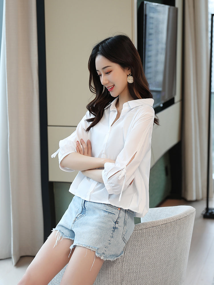 A24P Bubble Sleeves POLO Collar White Shirt
