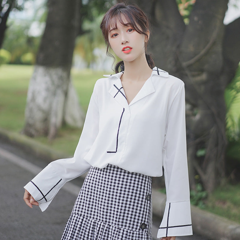 A18F A-Line Collar White Shirt