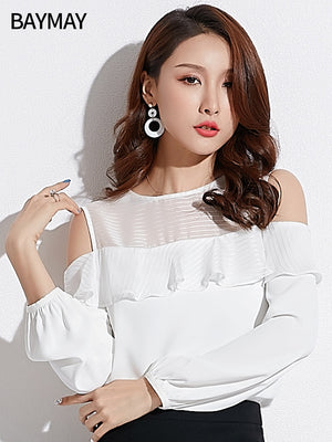 Off Shoulder Spring Top-Blouses & Shirts-[korean fashion]-[korean clothing]-[korean style]-SOO・JIN