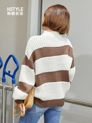 Brown Stripes on White Pullover-Cardigans-[korean fashion]-[korean clothing]-[korean style]-SOO・JIN