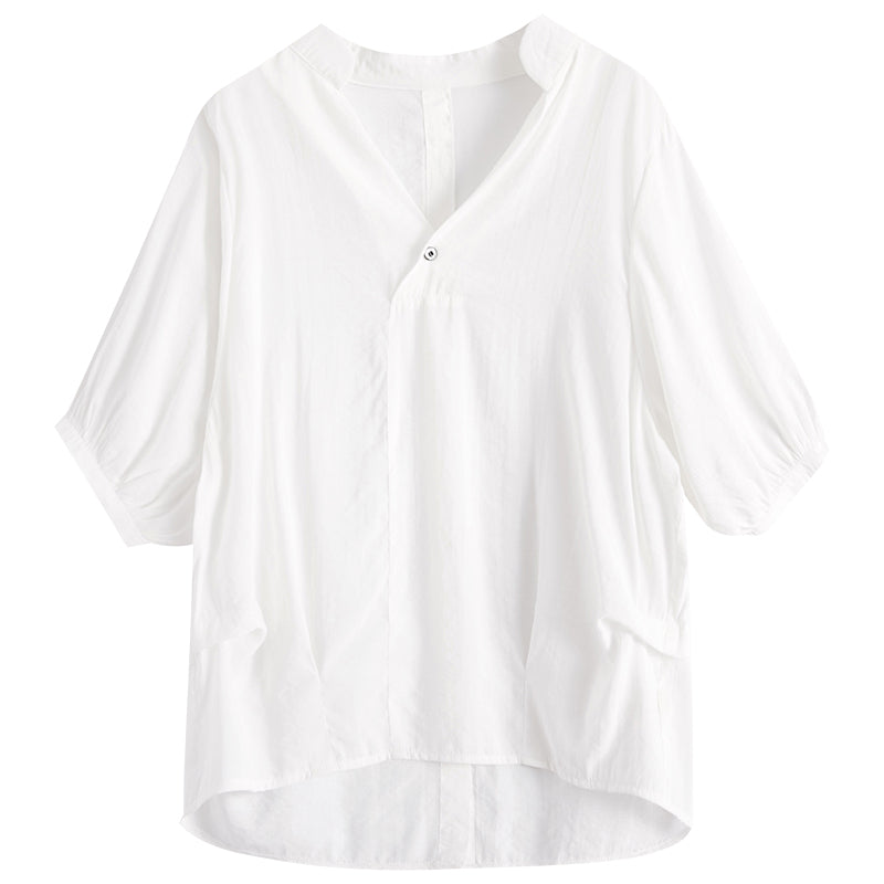A24H Lantern Sleeves Back Buttons White Shirt