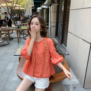 A24O Hollow Lace Foreign Style White Shirt
