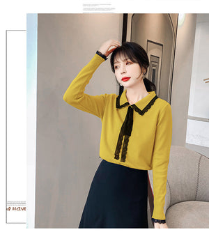 Doll Collar Long-sleeved Base Shirt
