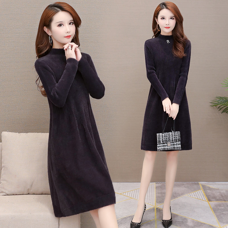 A19V long-sleeved Loose Waist Thickened Dress