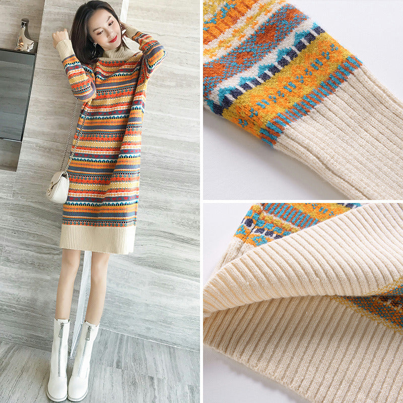 A19F Colorfull Long Sleeved Dress