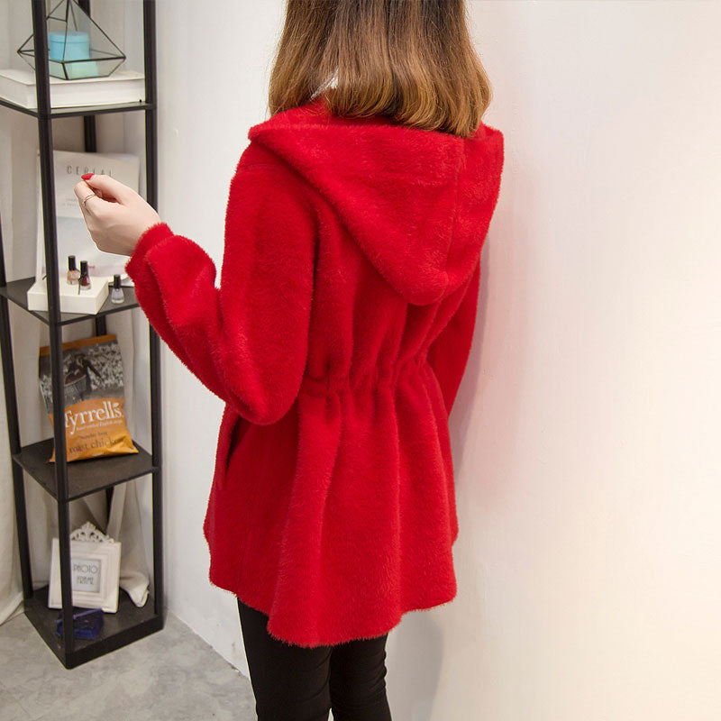 A13O Rose Red Warm Mid-Length Coat