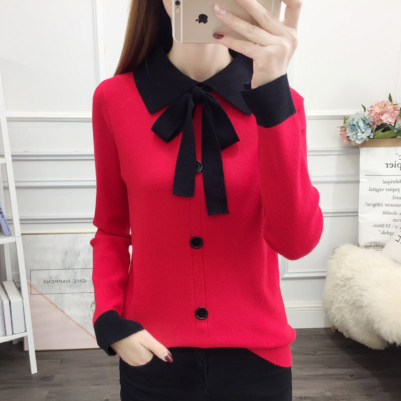 A12T Square Collar Lace Bow Top