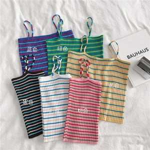 A36Z Fresh Striped Knit Short Bottoming Shirt