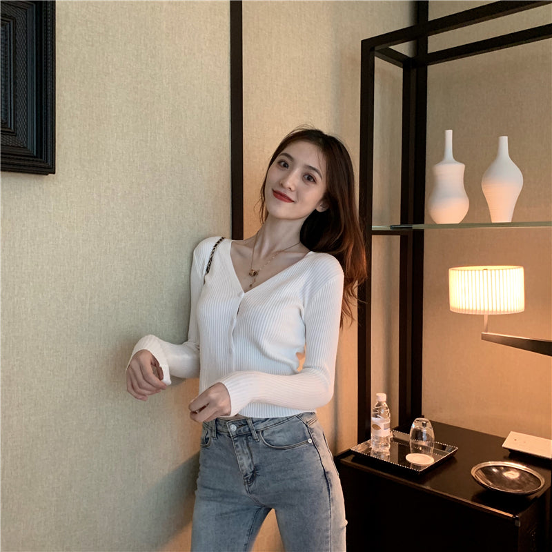 A37D V-neck Long Sleeve Skinny Top