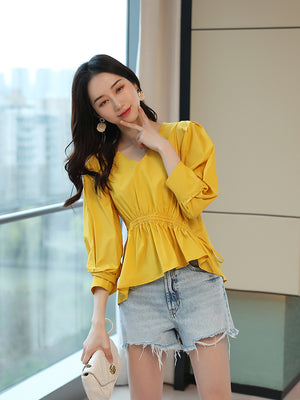 A24N V-neck Drawstring Irregular Bubble Sleeve Top