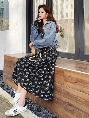 A19A Floral Skirt Long-Sleeved Chiffon Dress