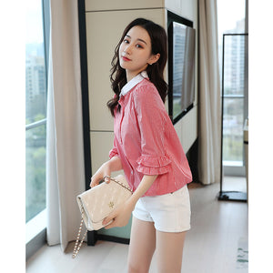 Doll Collar Loose Flared Sleeve Top
