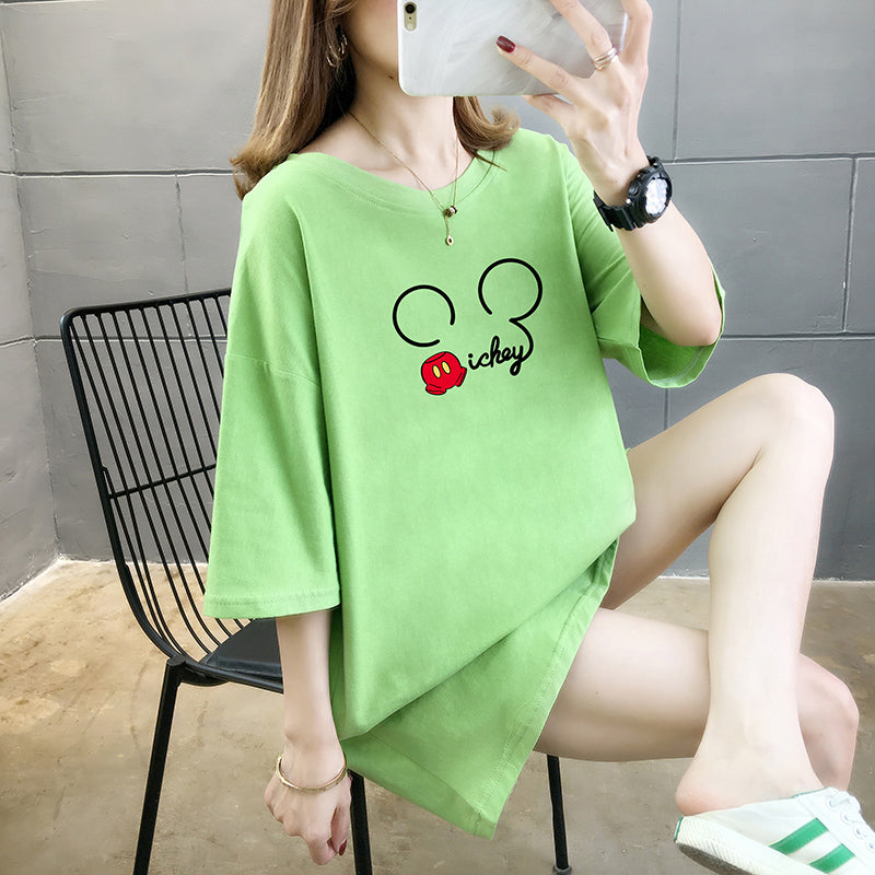 A36C Short-sleeved Micky Ear Printing Loose T-Shirt