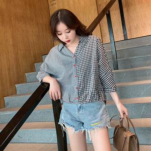 Fashion Color Matching Plaid Shirt