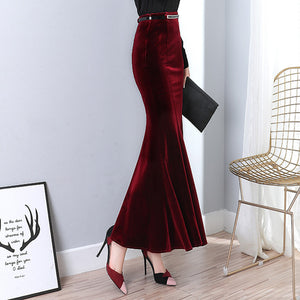 Red & Black Color Fishtail Design Long Skirt