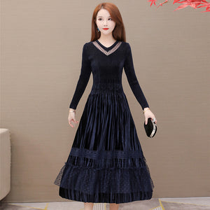 A19Q Lace Bottoming Skirt Mid-length Dress