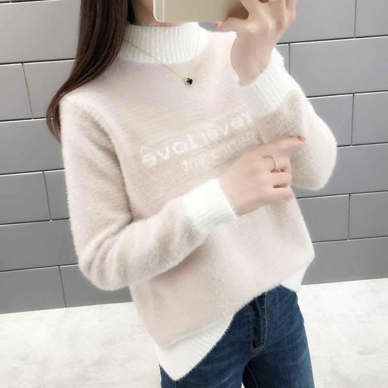 A23A High Collar Long Sleeve Suede Sweater Winter 2020