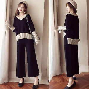 A27X Foreign Style High-rise wide-leg Pants Two-piece Suit