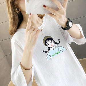 Doll Printing Mid-length T-shirt