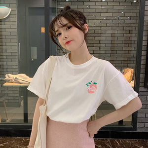 Girlish Apple Printing Short-sleeved T-shirt