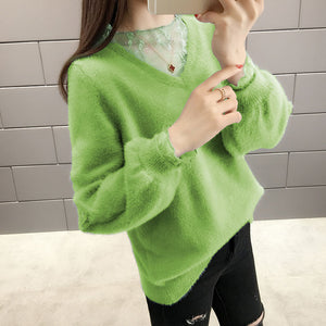 A12K V-neck Loose Warm Pullover