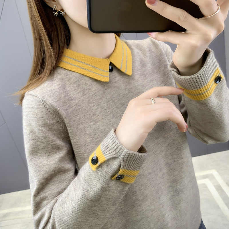 A20S Doll-collar Button Sleeve Design Sweater Winter 2020