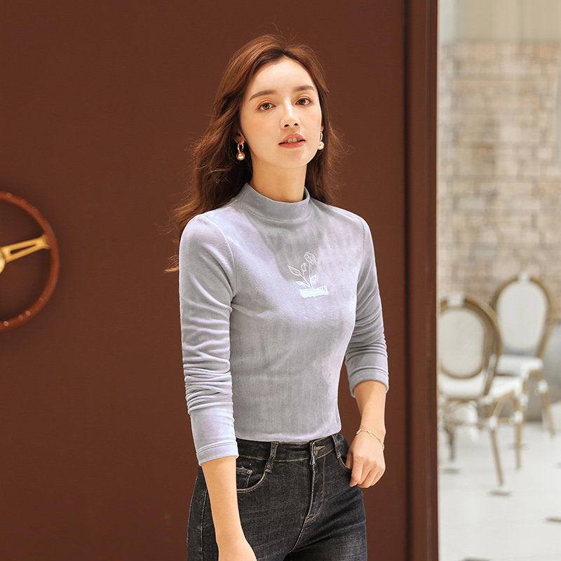 Semi High-Collar Soft T-Shirt