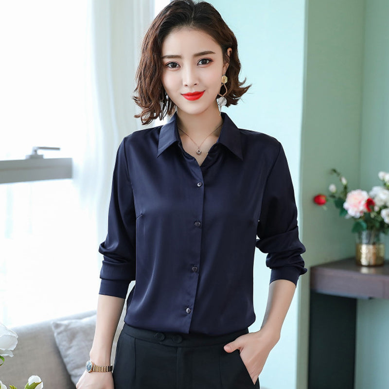A14S] Silk Long Sleeved Satin Blouse