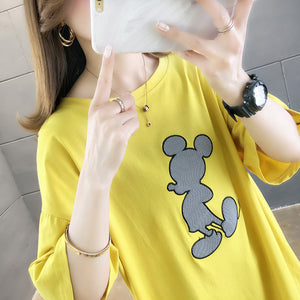 Transparent Design Micky Printing T-Shirt