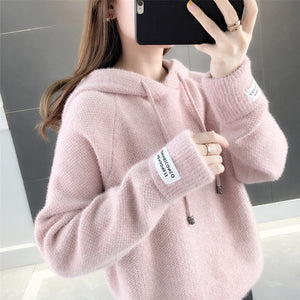 A11J Fuzzy Loose Hooded  Pullover