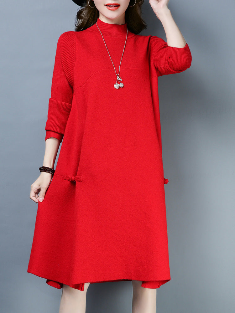 A16O Big Red Knitted Sweater Dress