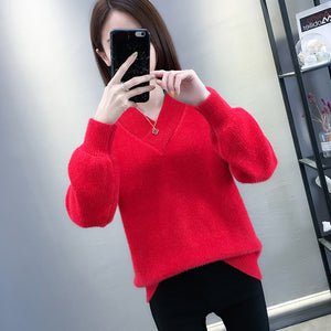 Top Fashion V-Neck Long-Sleeved Pullover