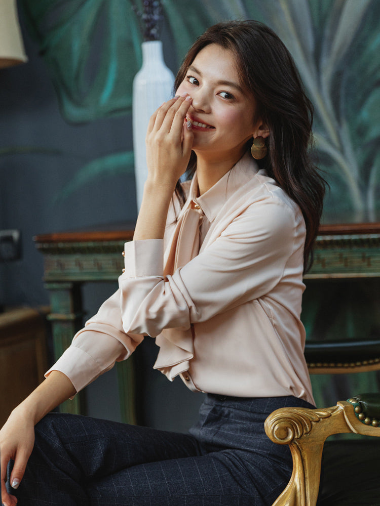 Mature Look Pearly Buttons Shirt-Blouses & Shirts-[korean fashion]-[korean clothing]-[korean style]-SOO・JIN