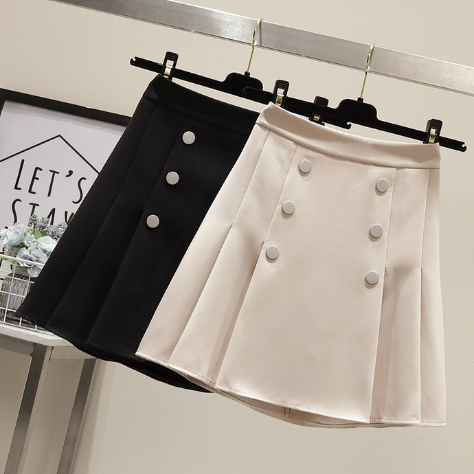 Button & Pleats Skirt-Bottoms-[korean fashion]-[korean clothing]-[korean style]-SOO・JIN