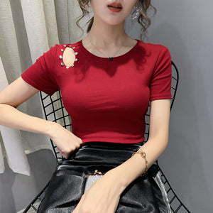 A37J Slimming Shoulder Hole Fashion T-shirt