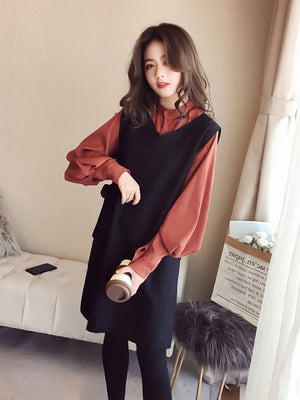 A28H Korean Fashion Middle-length Two-piece Top