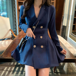 A16Y Fold Stitching buttons Double-breasted Dress
