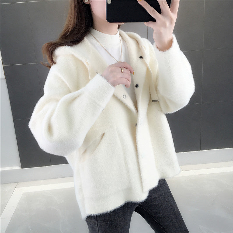 A10Y Mink Fluff  Loose Hooded Jacket
