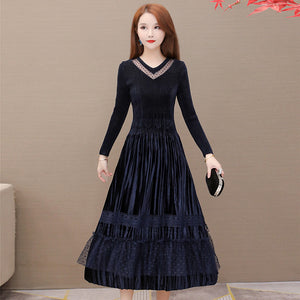 Lace Bottoming Skirt Mid-length Dress