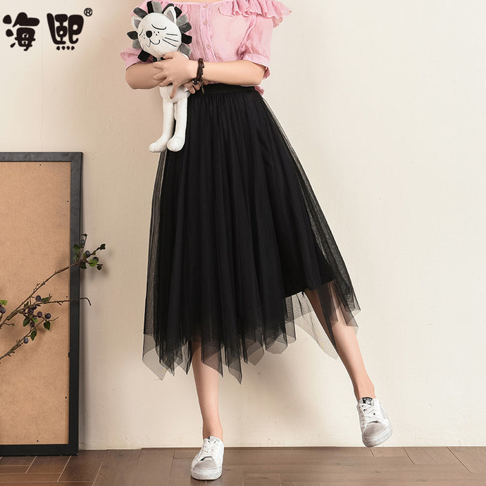 Frill Cut Mesh Skirt-Bottoms-[korean fashion]-[korean clothing]-[korean style]-SOO・JIN