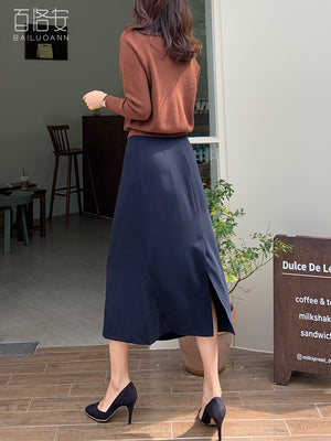 A21M Over The Knee Solid Color Long Skirt