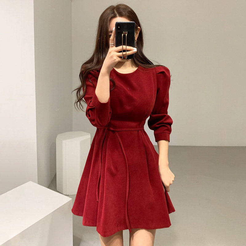 A19F Niche Design French Waist Dress